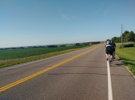 After the rest stop, we were back on long roads in farm country.