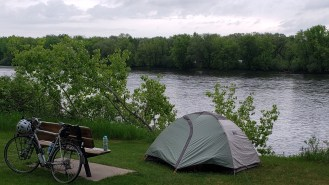 My campsite for the night, in a campsite for folks conoeing the Mississippi, near Monticello Minnesota.