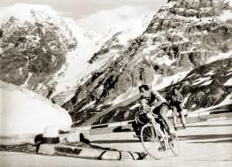 Fausto Coppi climbing Passo dello Stelvio
