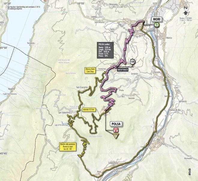 Giro d'Italia 2013 stage 18 map