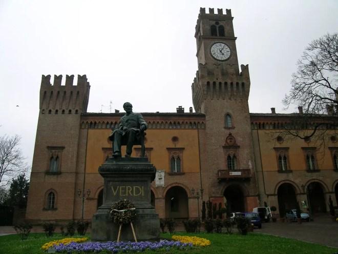 Busseto, Rocca Pallavicino and Verdi statue