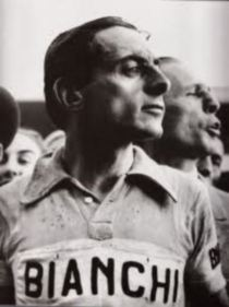 Fausto Coppi in classic Bianchi jersey