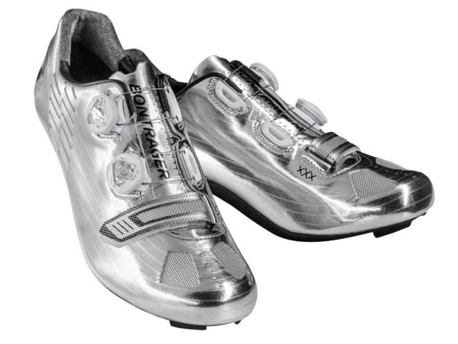 Chrome-colored Bontrager shoes for Jens Voigt's farewell