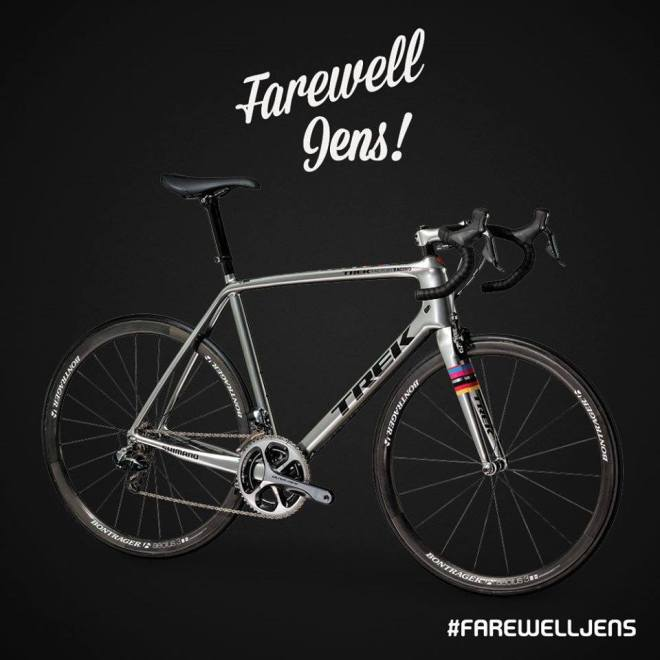 Chrome-colored Trek Madone 7 for Jens Voigt's farewell
