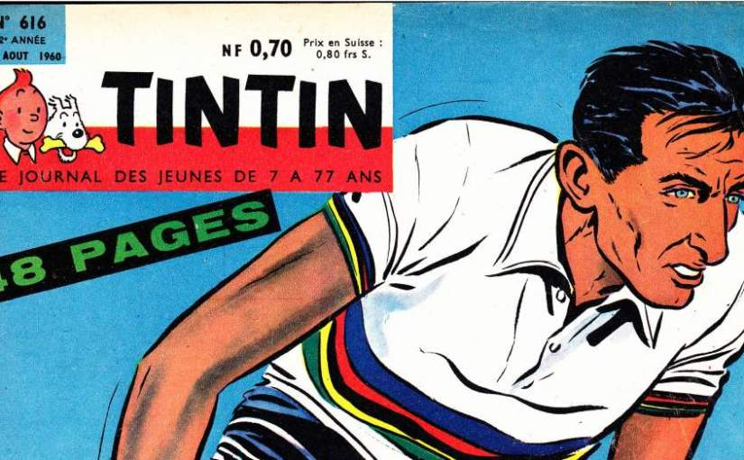 Fausto Coppi on the cover of Tintin magazine