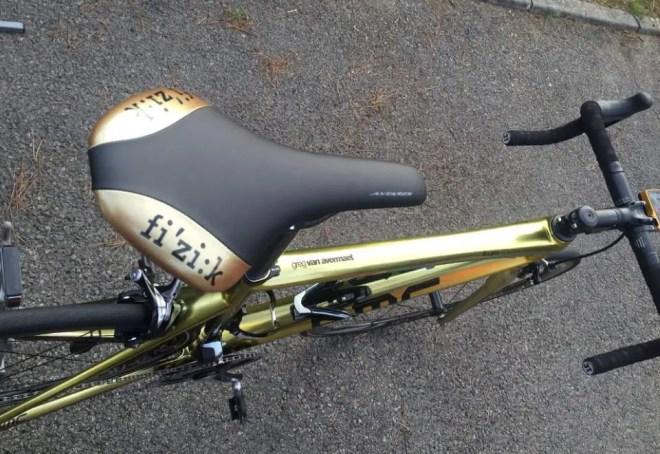 Greg Van Avermaet's golden painted-BMC-Teammachine SLR01 bike, saddle