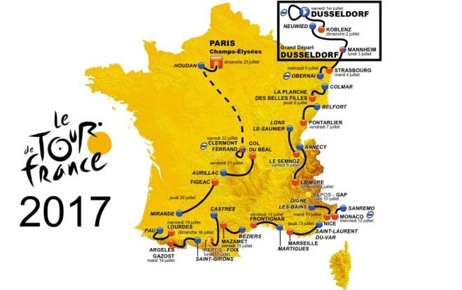 Tour de France 2017 map