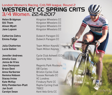 A picture of a woman in Kingston kit, by Huw Williams, superimposed with the current online entries and key details for the 2 LWR crit race, Westerley Crits.