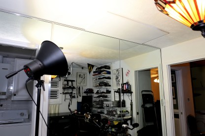 "Note the 2' x 4' x 1/2"" Plywood board on the ceiling. It will hold my bike hoist."