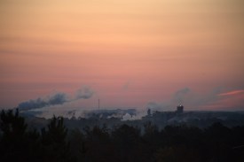 2 minutes before sunrise @ 6:48--Cargill Plant in the distance--a bit breezy over there
