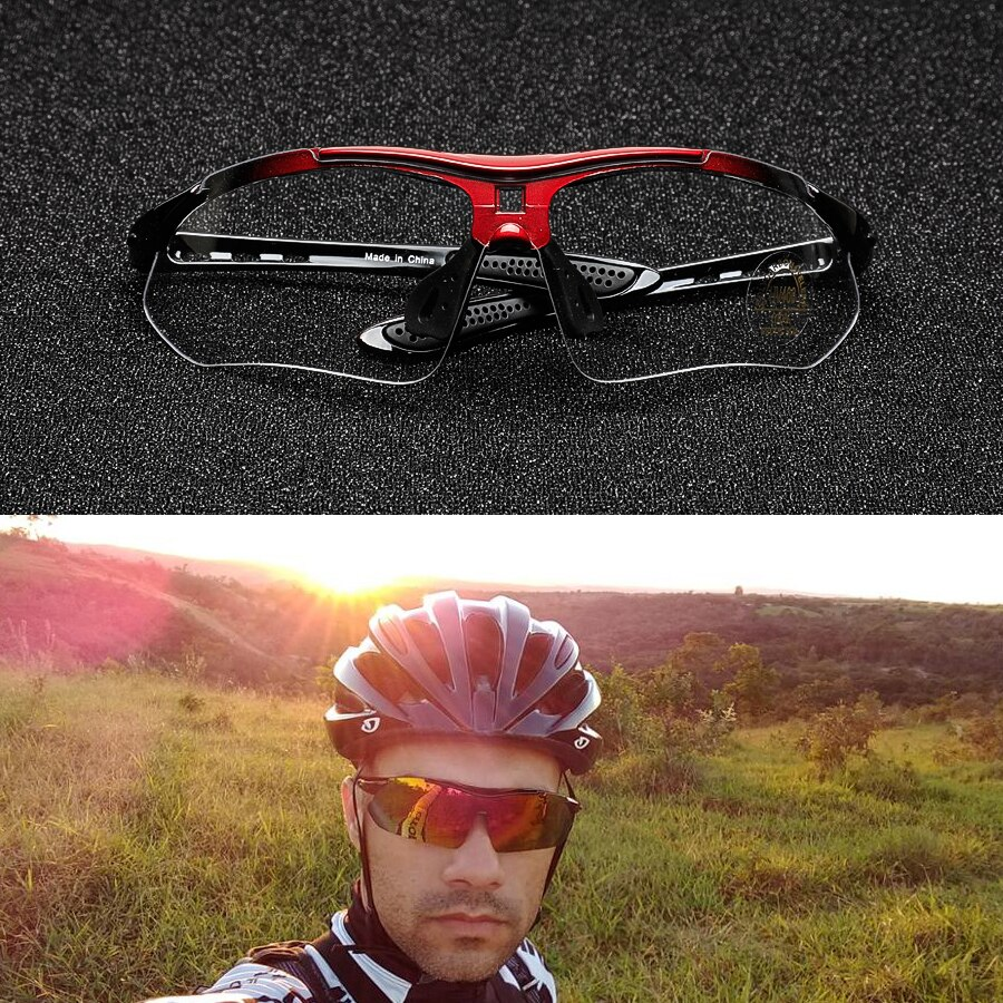Cycling Glasses Bike Sunglasses Color Change Polarized 5 Lens Myopia Frame