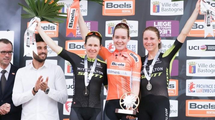 Anna van der Breggen - Amanda Spratt - Annemiek van Vleuten - Podium Liège-Bastogne-Liège Femmes 2018