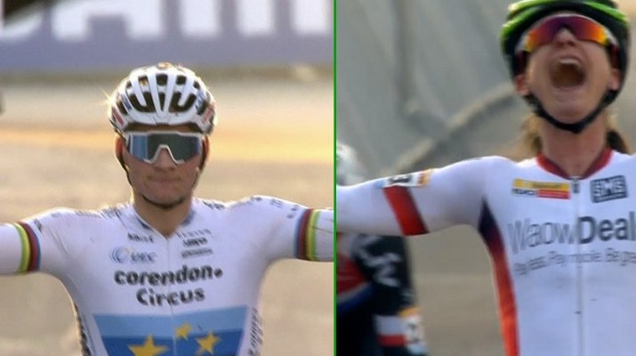 Montage Mathieu Van der Poel - Marianne Vos Coupe du monde cyclo-cross Heusden-Zolder 2018