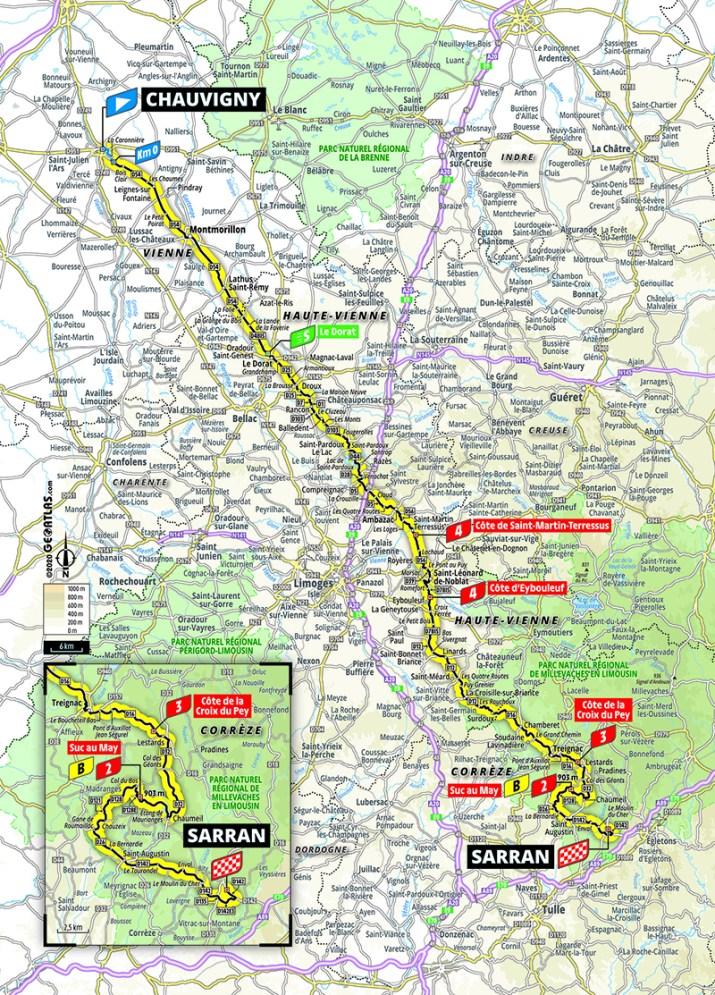 Carte - 12e étape - Tour de France 2020 - ASO/Geoatlas