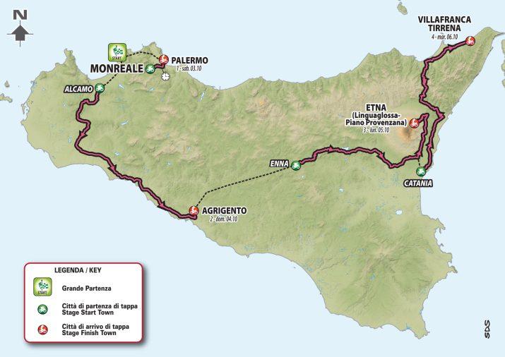 Carte - Départ Tour d'Italie Giro 2020 en Sicile