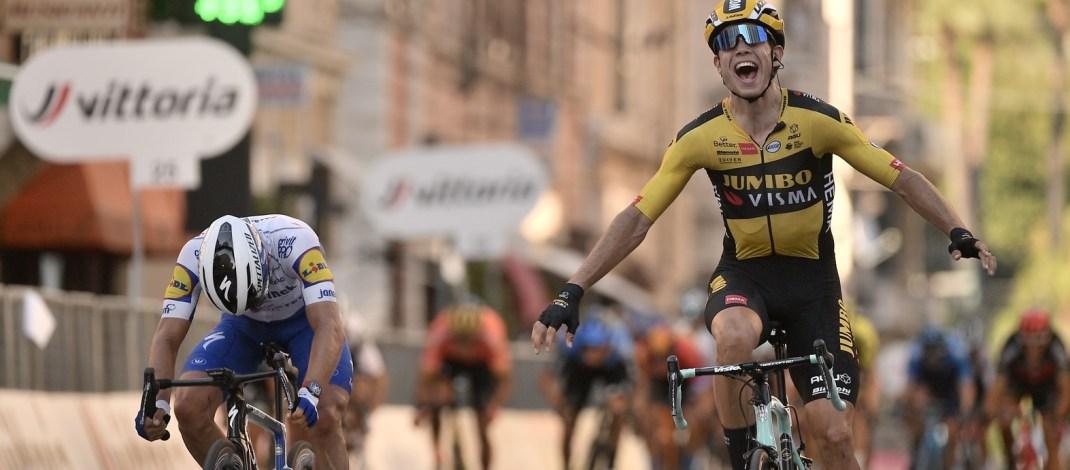Wout van Aert - Sprint Victoire Milan-Sanremo 2020 - RCS Sport La Presse D'Alberto-Ferrari-Alpozzi