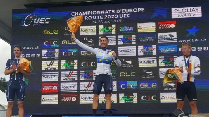 Giacomo Nizzolo Champion Europe Podium - Twitter FCI