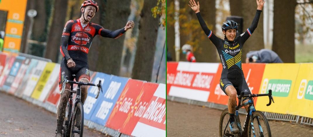 Montage - Michael Vanthourenhout et Lucinda Brand vainqueurs - Cyclo-cross Merksplas 2020 - Alain Vandepontseele