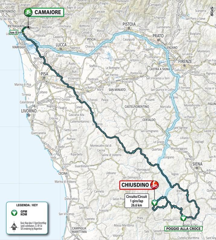 Carte - 2e étape - Tirreno-Adriatico 2021
