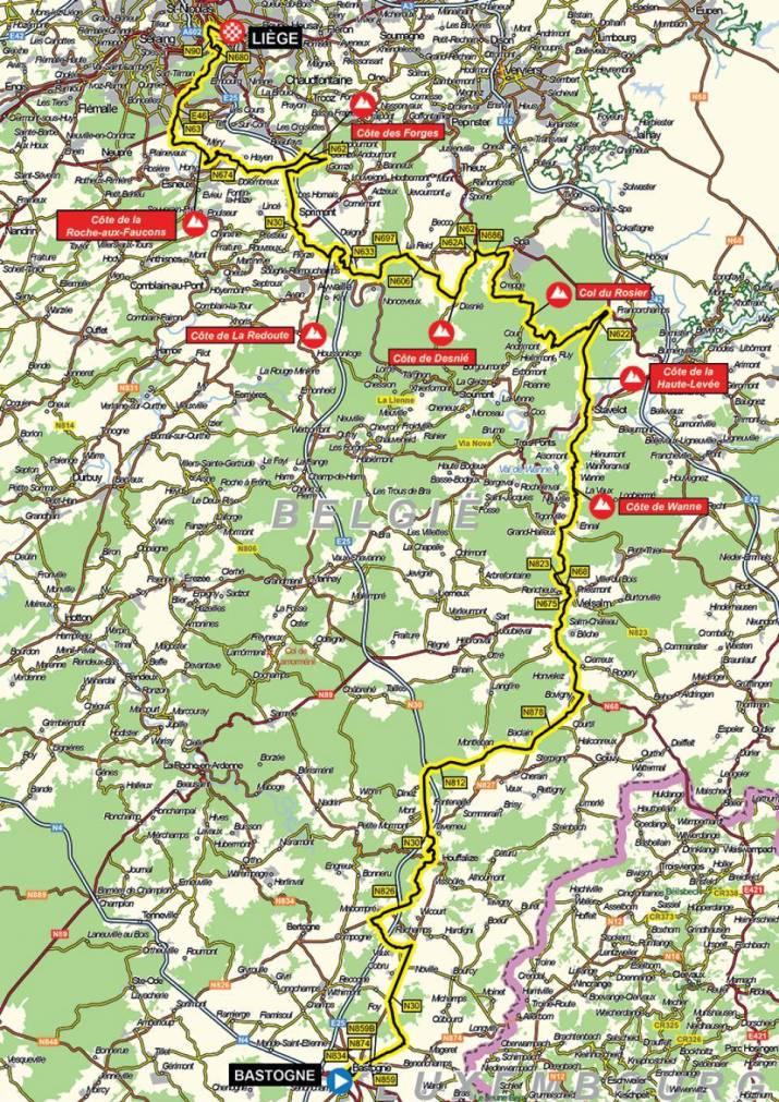 Carte - Liège-Bastogne-Liège Femmes 2021