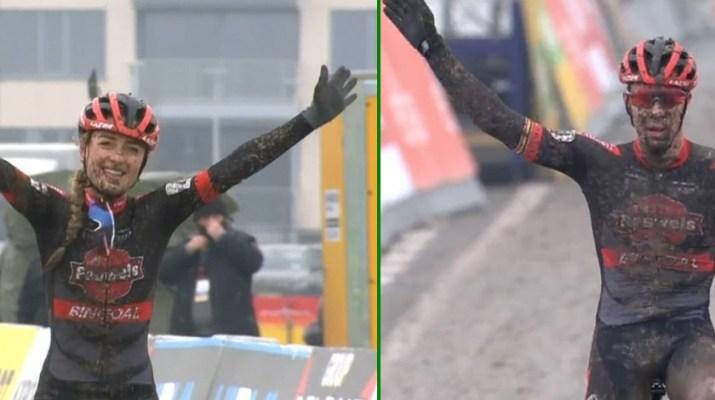 Montage - Denise Betsema Laurens Sweeck - Cyclo-cross Middelkerke 2021