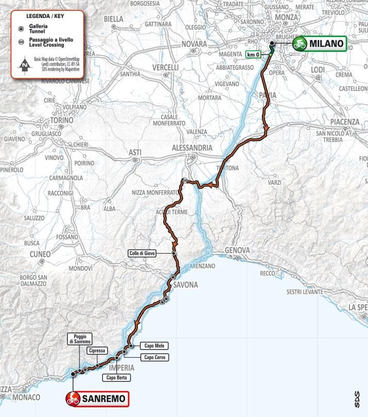 Milan-Sanremo 2021 - Carte générale