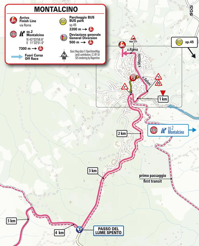 11e étape - Carte du final - Tour d'Italie Giro 2021
