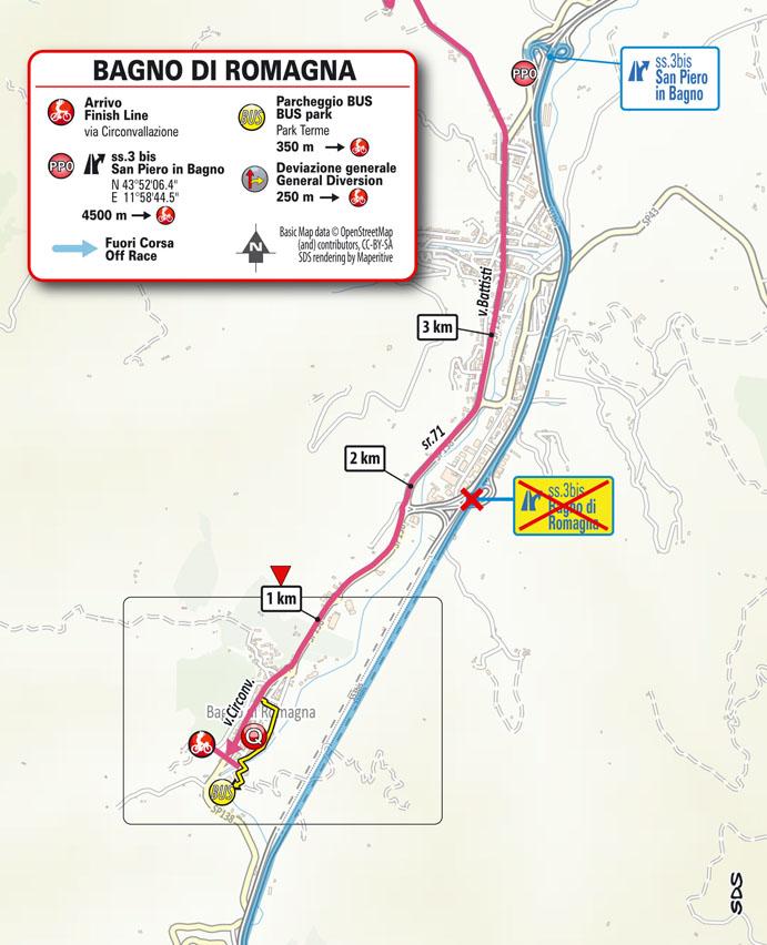 12e étape - Carte du final - Tour d'Italie Giro 2021