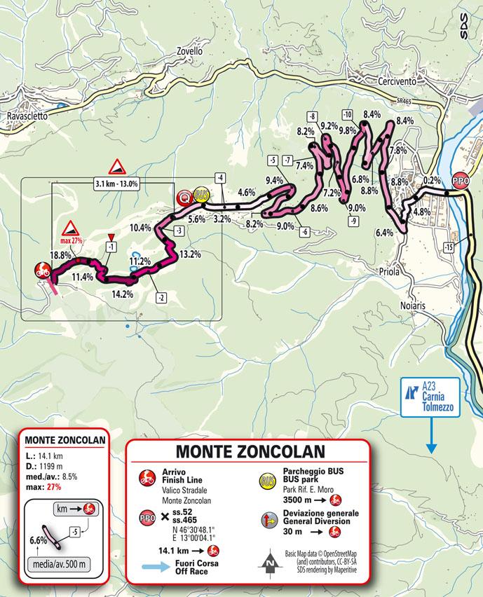 14e étape - Carte du final - Tour d'Italie Giro 2021