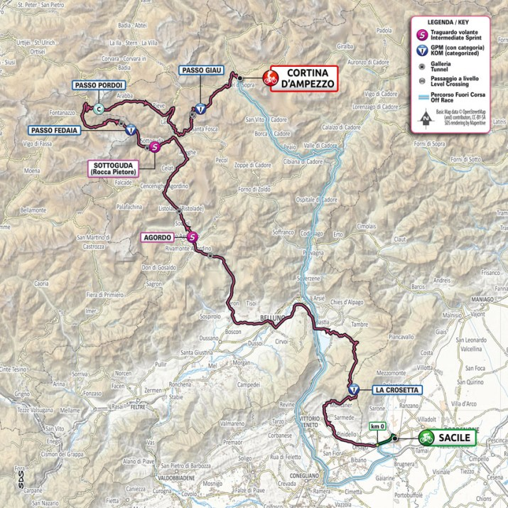 16e étape - Carte - Tour d'Italie Giro 2021
