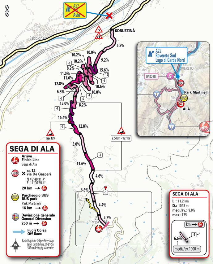 17e étape - Carte du final - Tour d'Italie Giro 2021