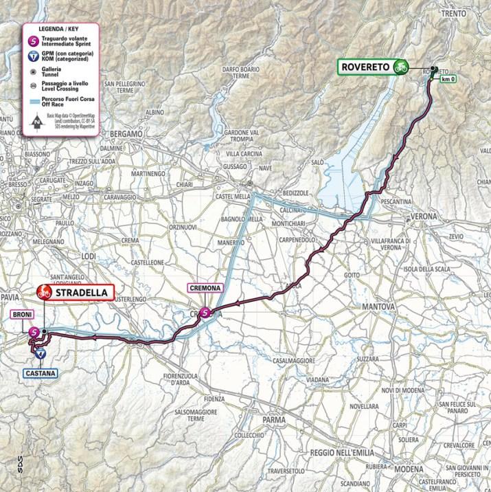 18e étape - Carte - Tour d'Italie Giro 2021