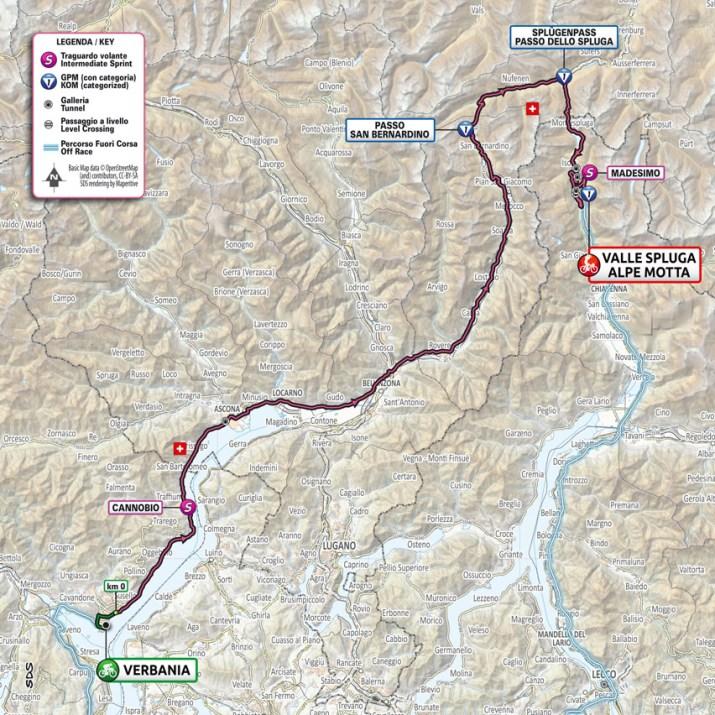 20e étape - Carte - Tour d'Italie Giro 2021