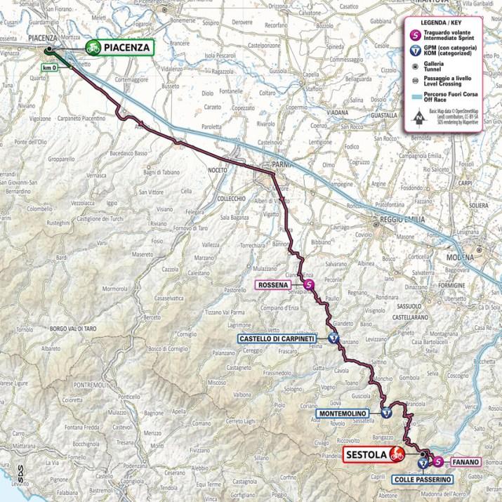 4e étape - Carte - Tour d'Italie Giro 2021