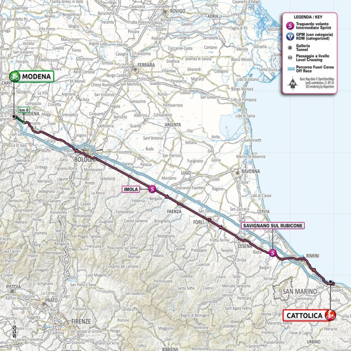 5e étape - Carte - Tour d'Italie Giro 2021