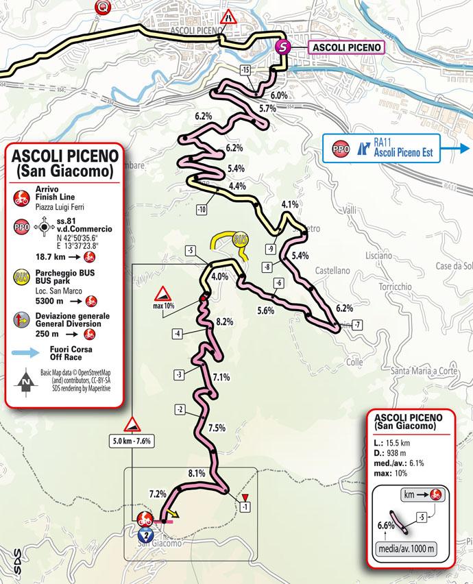6e étape - Carte du final - Tour d'Italie Giro 2021