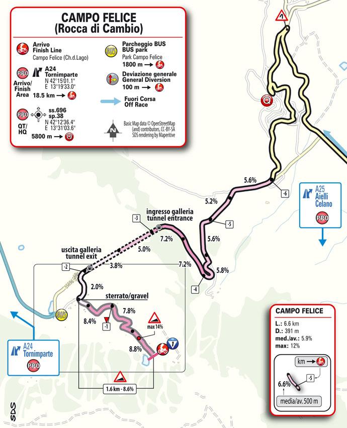 9e étape - Carte du final - Tour d'Italie Giro 2021