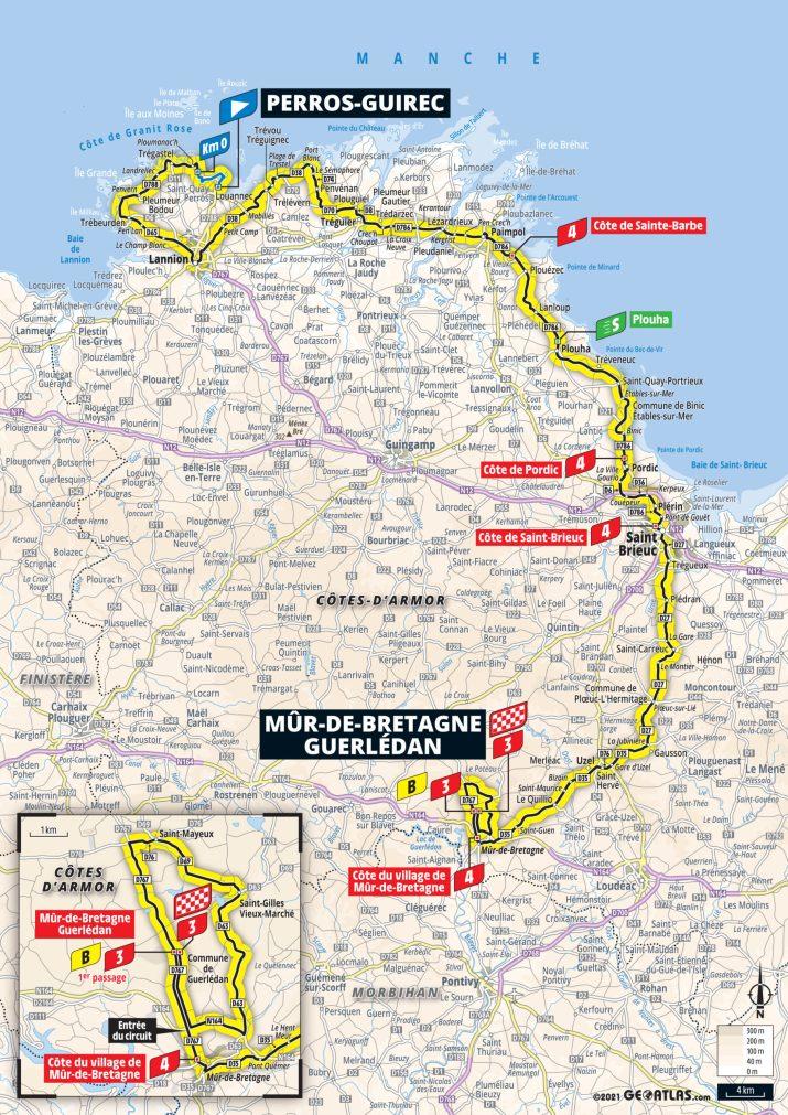 2e étape - Carte - Tour de France 2021