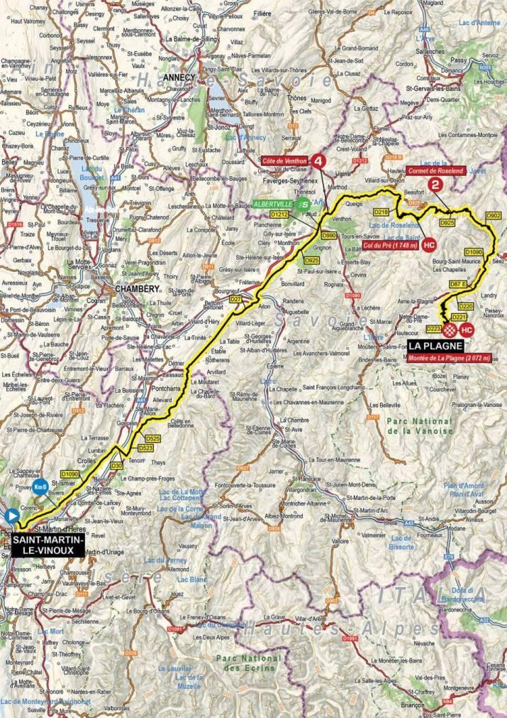 7e étape - Carte - Critérium du Dauphiné 2021
