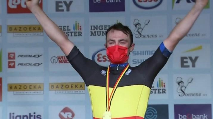 Yves Lampaert - Champion de Belgique Contre-la-montre 2021 - Capture Sporza