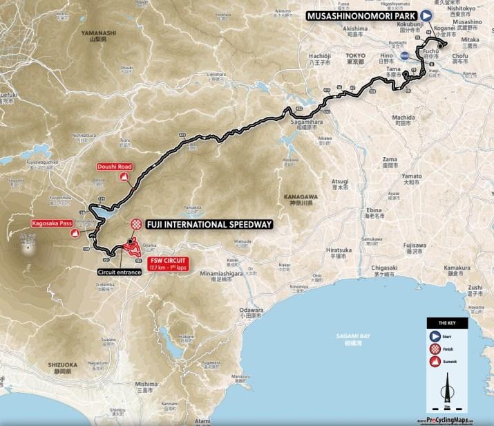 Carte Course en ligne Femmes - Jeux Olympiques Tokyo 2020 - ProCyclingMaps