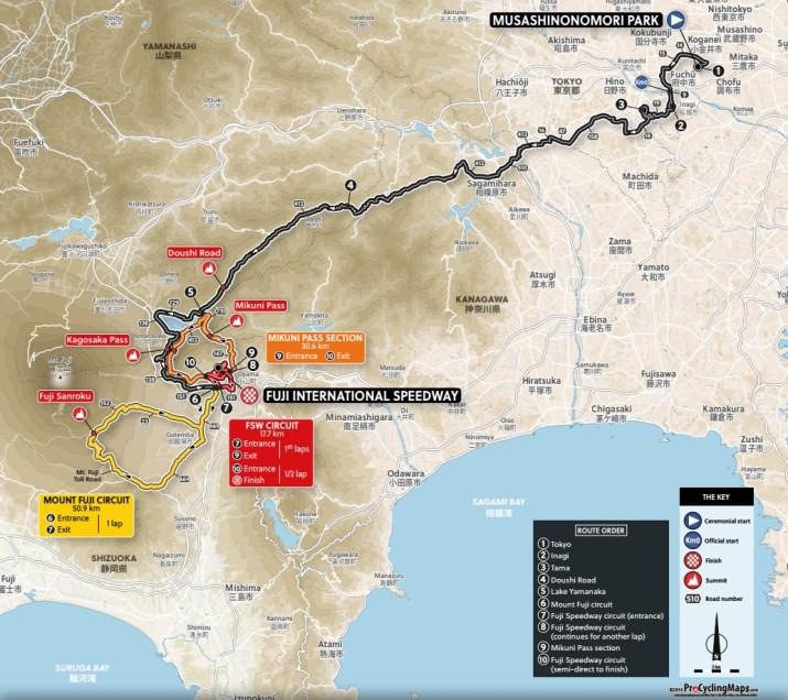 Carte Course en ligne Hommes - Jeux Olympiques Tokyo 2020 - ProCyclingMaps