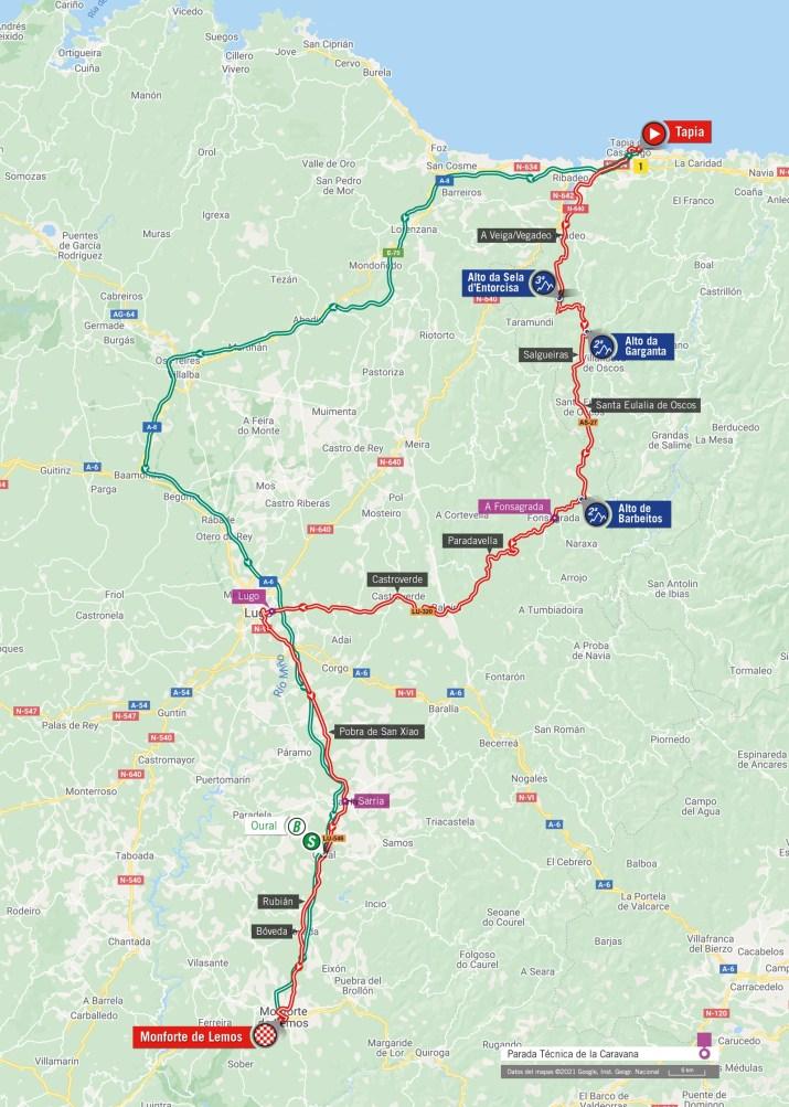 19e étape - Carte - Tour d'Espagne Vuelta 2021