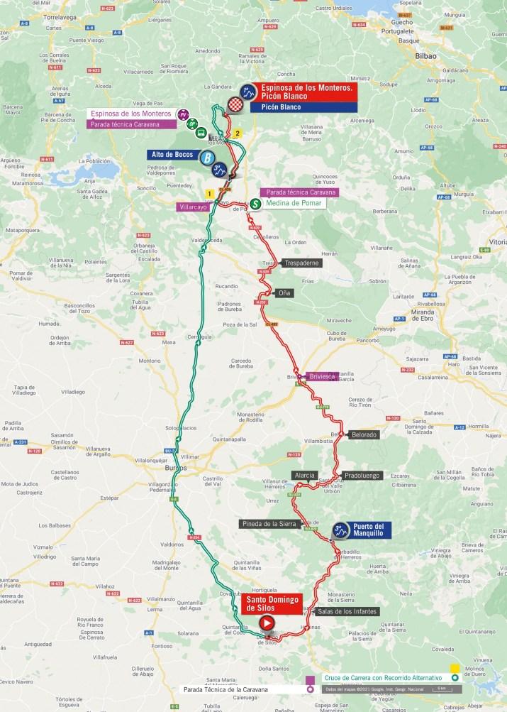 3e étape - Carte - Tour d'Espagne Vuelta 2021
