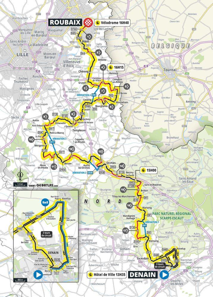 Paris-Roubaix 2021 - Carte Femmes