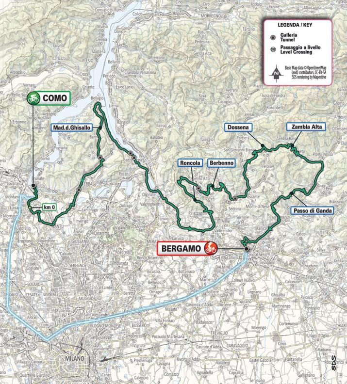 Carte générale - Tour de Lombardie 2021