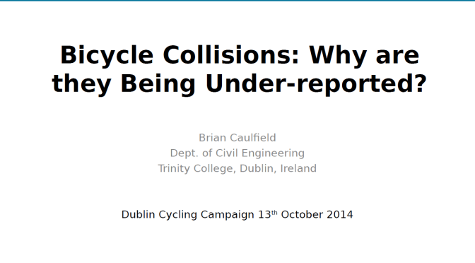 Prof. Brian Caulfield of TCD researches cycling issues