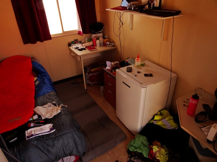 My gear occupied all available surfaces in my room