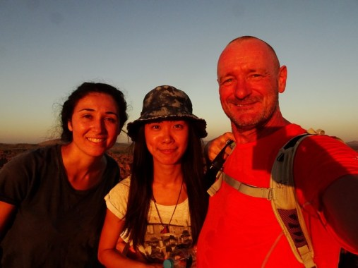 Lara (French), Yi-Hsuan (Taiwan) and Me (Many Places). Totti meditating. Not our 'natural' colours