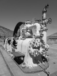 All that remains of the meatworks, aside of concrete flooring is this ammonia refrigeration compressor